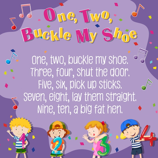 One two buckle my shoe poster Free Vector