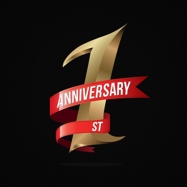 One year anniversary golden logo with red ribbon Premium Vector