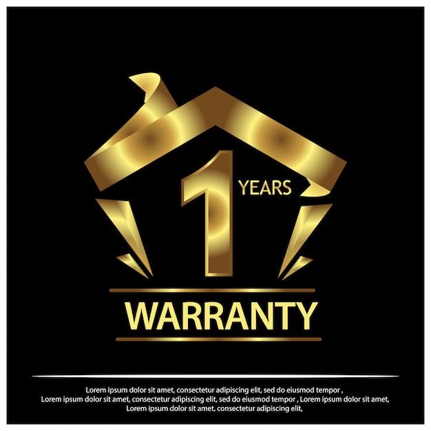 Один год гарантии золотая этикетка на черном фоне Premium векторы