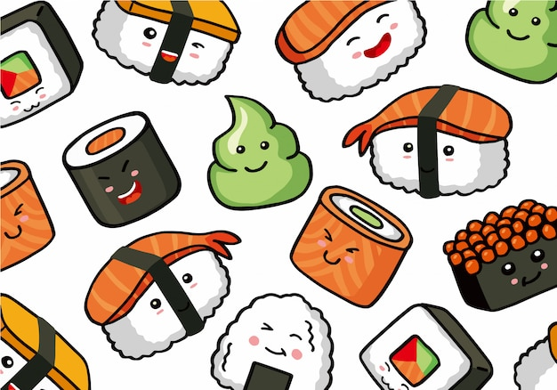 Onigiri and sushi seamless doodle pattern Premium Vector