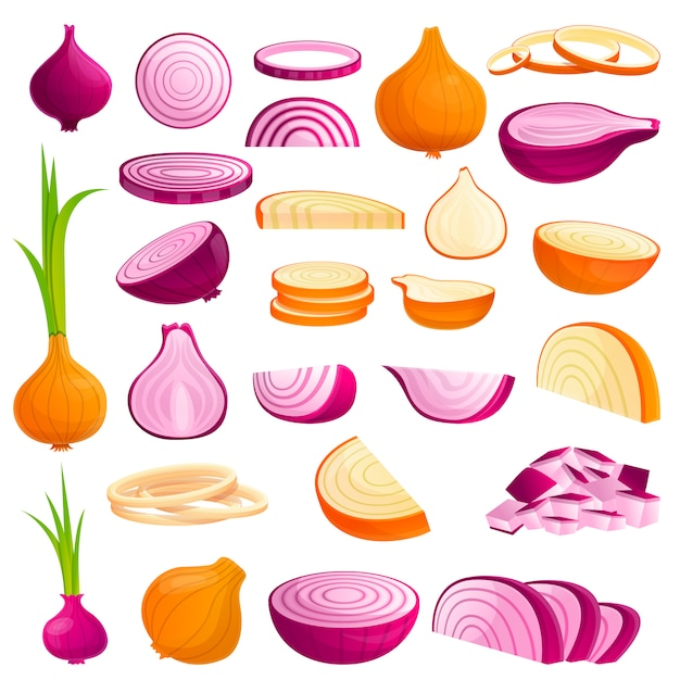 Onion icons set, cartoon style Premium Vector