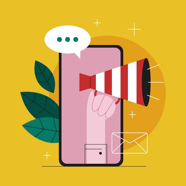 온라인 광고 개념. 마케팅 캠페인. 상업 광고 및 고객 아이디어와의 커뮤니케이션. 삽화 프리미엄 벡터