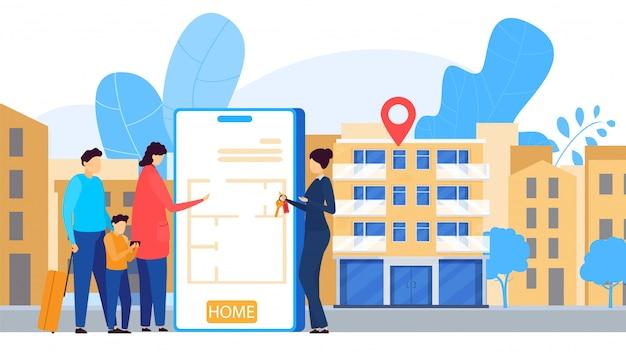 Online apartment rental service, mobile application, people illustration Premium Vector