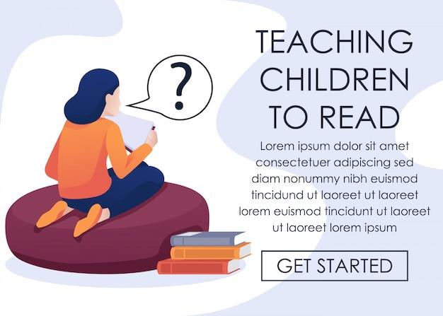 Интернет-приложение для обучения детей читать сами Premium векторы