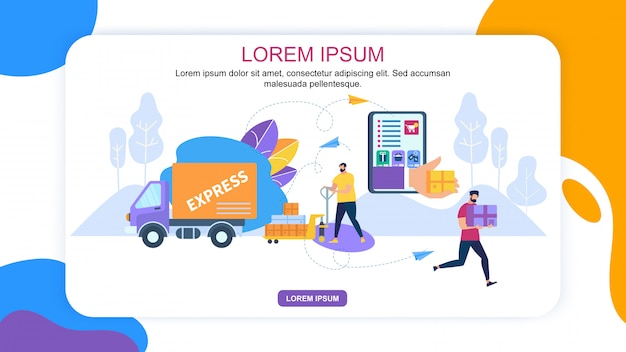 Online application for express delivery banner Premium Vector
