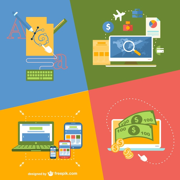 Online application flat illustration Free Vector