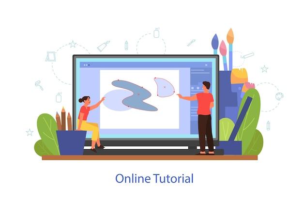 Концепция онлайн-обучения искусству. дистанционное обучение, художественный класс. люди учатся рисовать в цифровой программе онлайн. векторные иллюстрации в мультяшном стиле Premium векторы