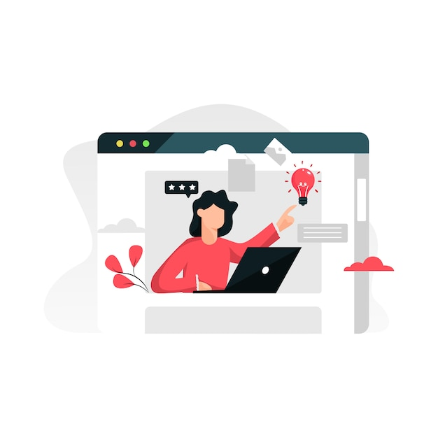 Online assistant flat concept Premium Vector