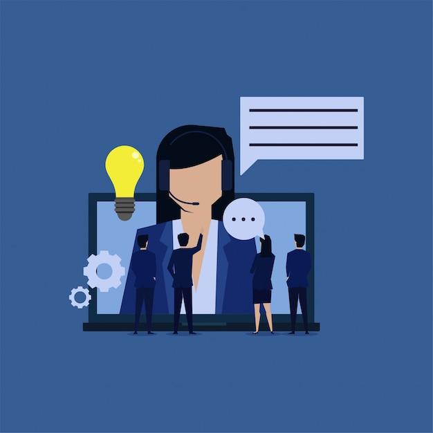 Online assistant help receive complain bring new idea. Premium Vector