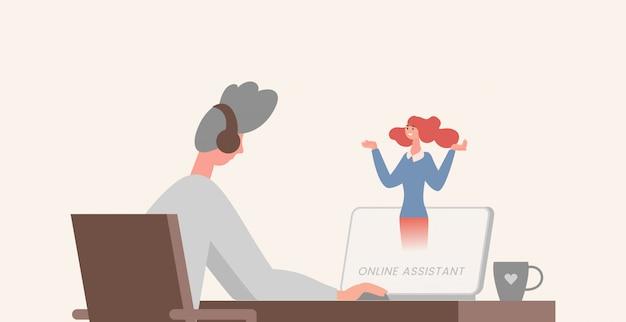 オンラインアシスタントイラスト。頭にイヤホンでコンピューターの前のテーブルに座っている若い男。 Premiumベクター