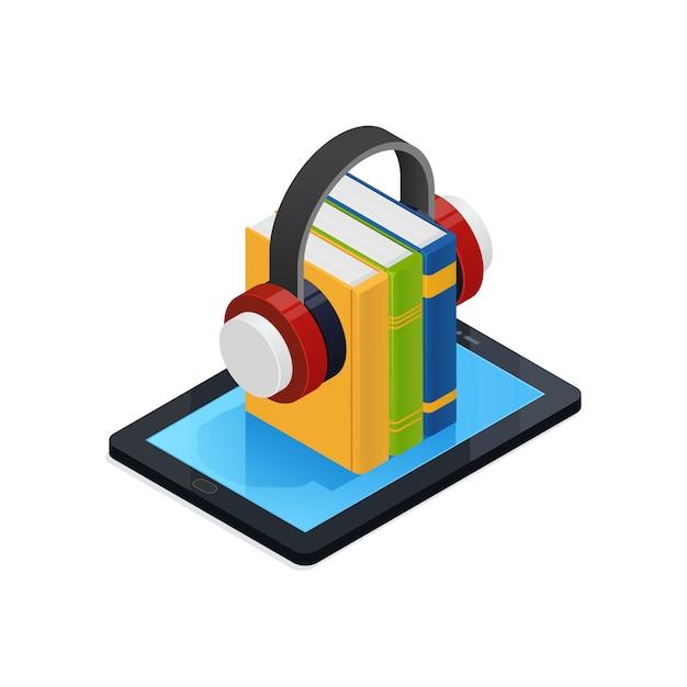 Интернет аудио книги изометрические дизайн Premium векторы