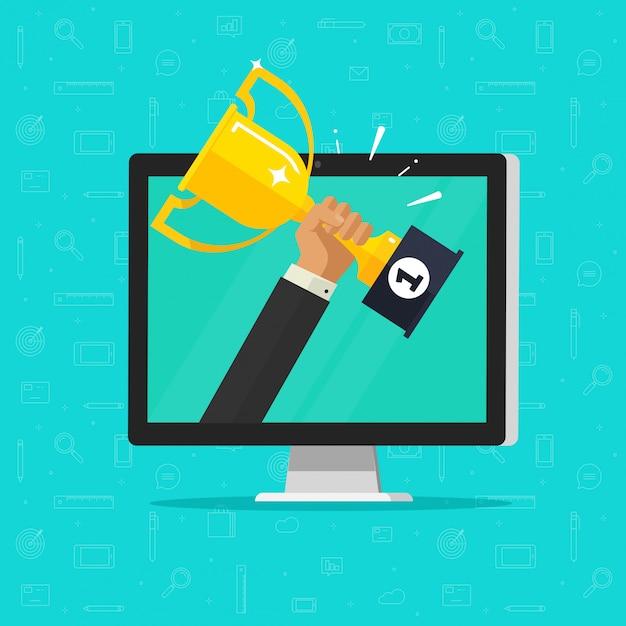 Online award goal achievement or winner online prize on computer screen Premium Vector