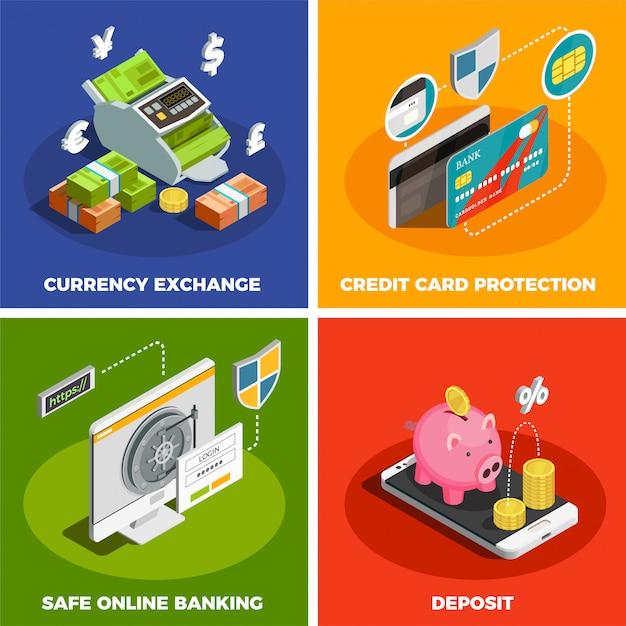 Online banking 4 isometric icon set Free Vector