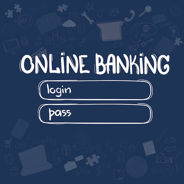 Online banking application interface concept doodle hand draw sketch background Premium Vector