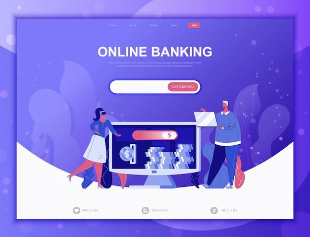 Online banking flat concept, landing page web template Premium Vector