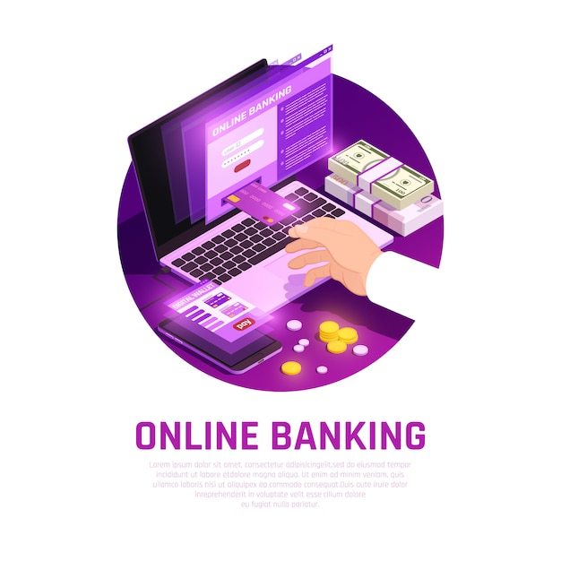Online banking isometric round composition Free Vector