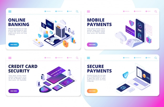 Online banking landing page. mobile payments, credit card security vector banners Premium Vector