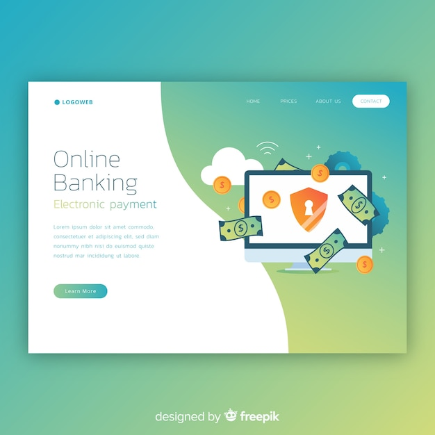 Online banking landing page template Free Vector