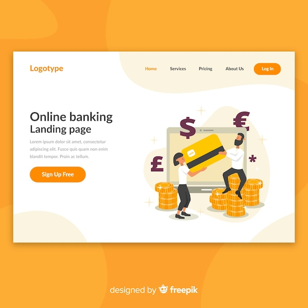 Online banking landing page Free Vector