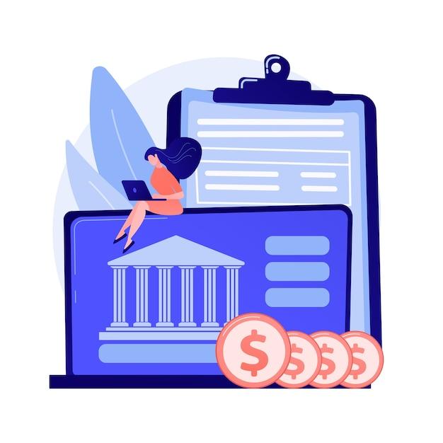 オンラインバンキング。ノートパソコンの漫画のキャラクターを使用してコインを持つ男。銀行口座、収入の節約、キャッシュレス支払い。お金を稼ぐコンピューターを持つフリーランサー。 無料ベクター