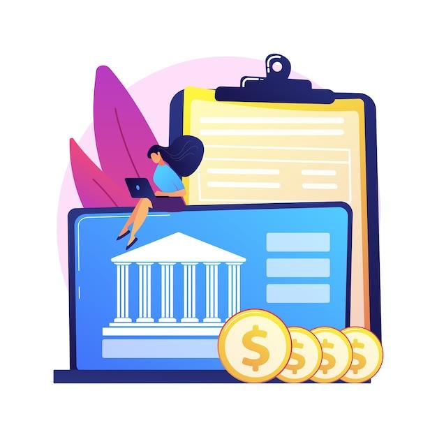 オンラインバンキング。ノートパソコンの漫画のキャラクターを使用してコインを持つ男。銀行口座、収入の節約、キャッシュレスの支払い。お金を稼ぐコンピューターとフリーランサー 無料ベクター