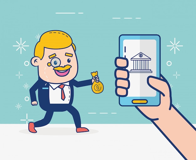 Online banking person Free Vector