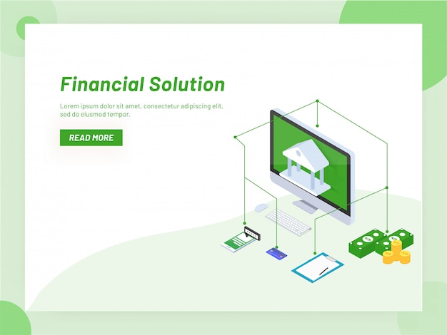 Online banking service or monetary support isometric design. Premium Vector
