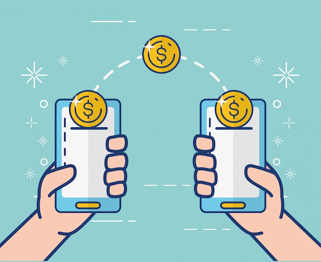 Online banking on smartphone Free Vector