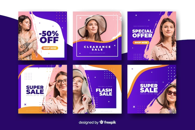 Online banners with offers for women clothing Free Vector