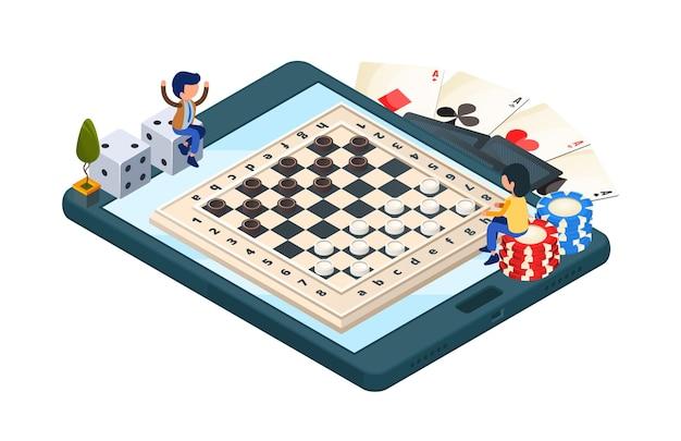 온라인 보드 게임. 체커 게임과 아이소 메트릭 전화. 게이머 캐릭터, 주사위, 카드. 온라인 일러스트 체커 챔피언십 프리미엄 벡터