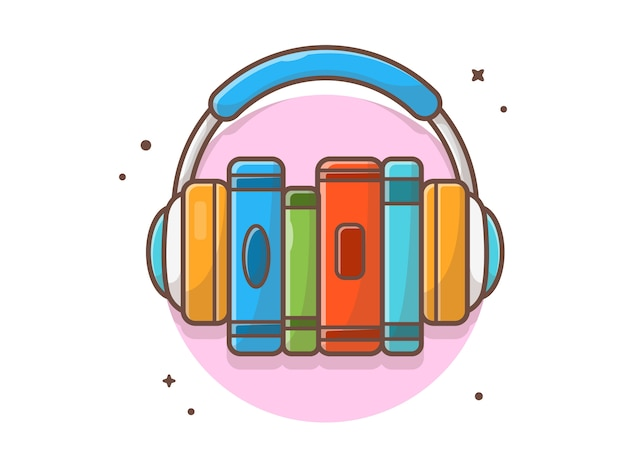 Online book music listening with headphone music  icon . e-learning music education white isolated Premium Vector