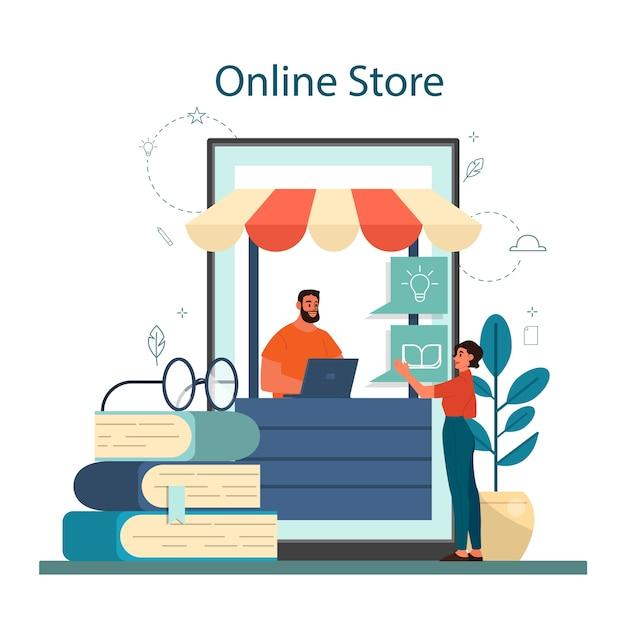 Интернет-магазин концепции книжного магазина. женщина покупает цифровые книги на смартфоне. изолированные векторные иллюстрации изометрии отдельные векторные иллюстрации Premium векторы