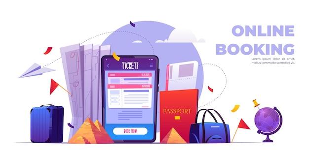 オンライン予約漫画バナー、携帯電話画面のチケット予約サービスアプリケーション。 無料ベクター