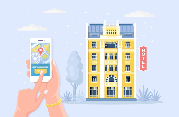 オンライン予約ホテル。検索用モバイルアプリ、休日予約室 Premiumベクター