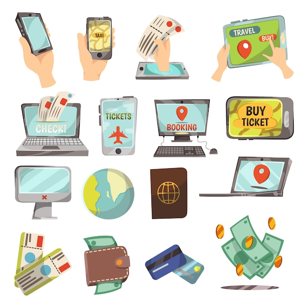 Online booking service  set Free Vector