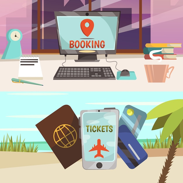 Online booking services banner set Free Vector