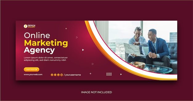 Online business agency and modern creative web banner template Premium Vector