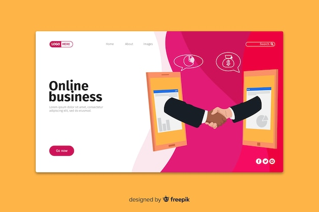 Online business landing page template Free Vector