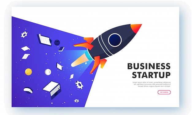 Online business startup, isometric laptop and tablet Premium Vector