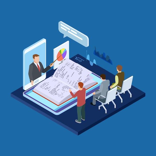 オンラインビジネストレーニング3 d等尺性ベクトル概念 Premiumベクター