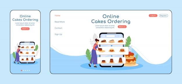 Online cakes ordering adaptive landing page  color  template. pastry shop mobile and pc homepage layout. bakery order one page website ui. desserts assortment webpage cross platform Premium Vector