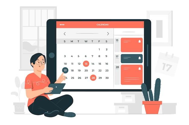 Illustrazione di concetto di calendario online Vettore gratuito
