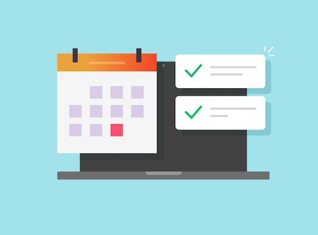 Online calendar and important deadline date task list app on laptop computer Premium Vector