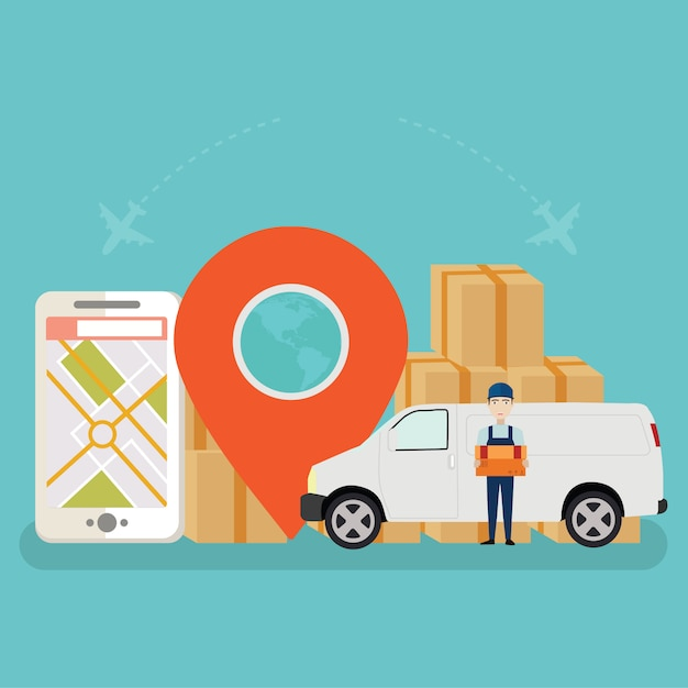 Online cargo tracking delivery application tiny people character Premium Vector