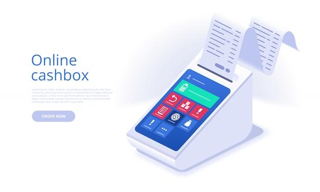 Online cashbox landing page template Premium Vector