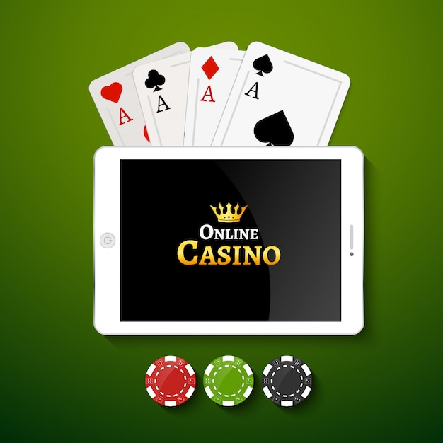 Online casino background. tablet with poker chips and cards on table. casino gambling background, poker mobile app Premium Vector