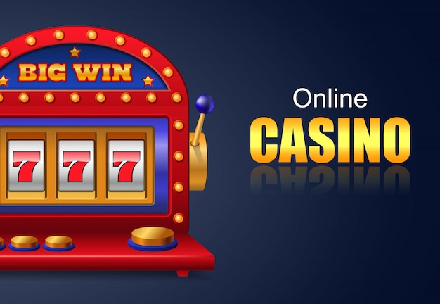 Online casino and big win lettering, lucky seven slot machine. Free Vector