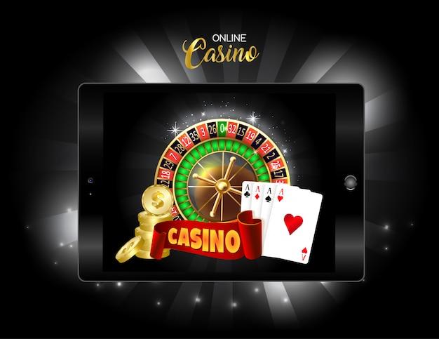 Online casino design banner. Premium Vector