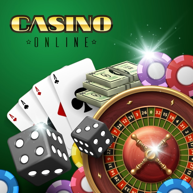 Online casino gambling background with roulette, dice and poker cards. Premium Vector