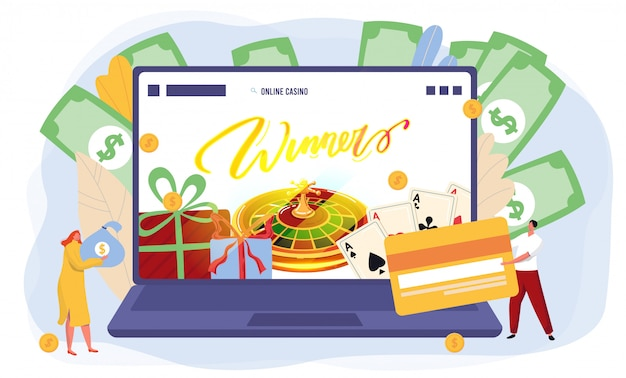 Online casino gambling website, people win fortune, open laptop and money background,  illustration Premium Vector